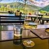 A glass of regional white wine in a wine tavern in Duernstein