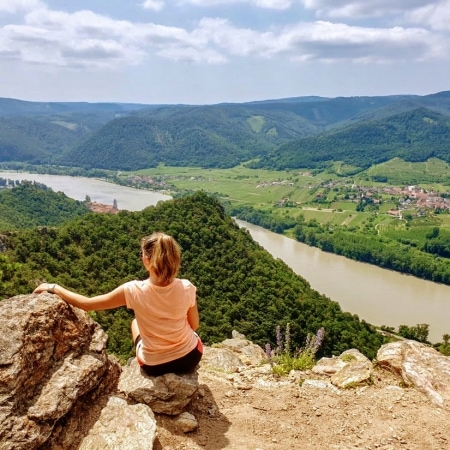 Girl enjoying panoramic views in Duernstein Wachau