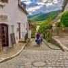 Two cyclists in the village of Duernstein, Wachau