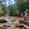 Ötschergräben Grand Canyon of Austria girls relax on the riverbanks