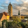 Wachau Winter Walk church towers in evening light